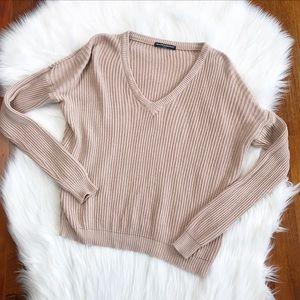 {Brandy Melville} Nude/Blush V-Neck Sweater